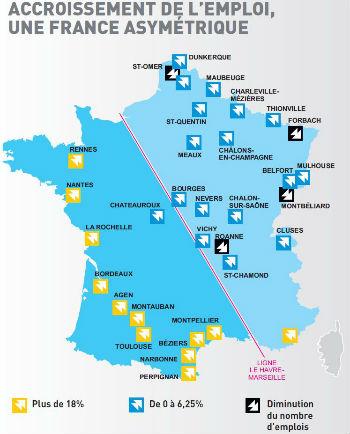 INTERIM carte accroissement emploi FRANCE