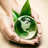 Globe et feuille dans main